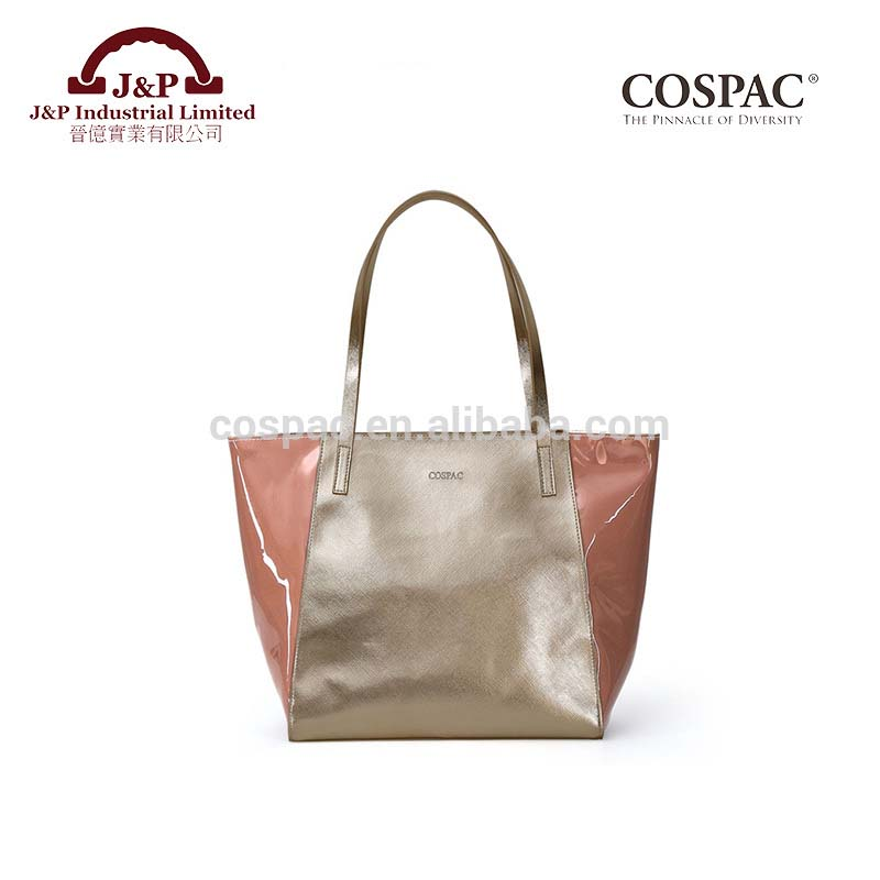 Roomy design nude pink tinted PVC tote bag