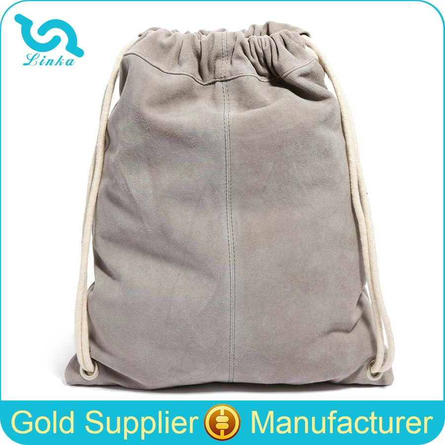 High Quality Suede Leather Drawstring Backpack Sports Drawstring Backpack