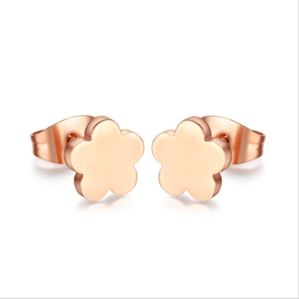 Yiwu Aceon Alibaba China Jewelry Factory Stainless Steel Flower Stud Rose Gold Earring