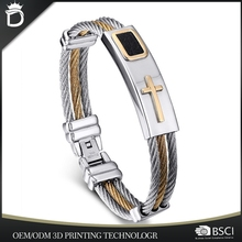 2017 Hot Selling Stainless Steel Wire Bangle Jesus Cross Bracelet In Middle East B-0013