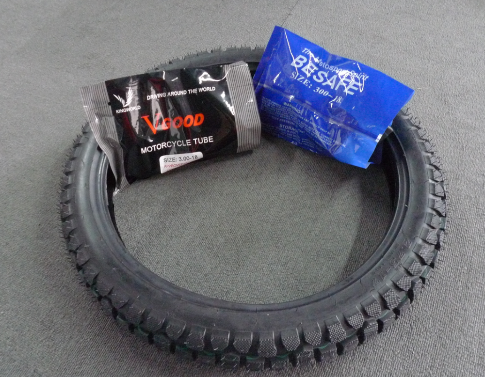 ISO DOT E-mark Approved Black Color Rubber Products Motorcycle Tire and Tube 3.00-18