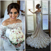 robe de mariage 2016 Off The Shoulder Pearls Beaded Mermaid Long Sleeve Lace Wedding Dresses CWFw2231
