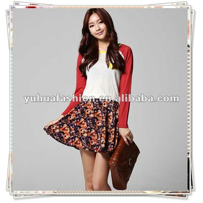 women ladies mini casual red orange small FLORAL BOHO PLEATED SKIRTS