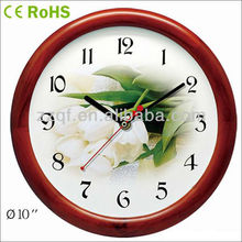 25.5cm Round shape quartz movement wooden stylish wall clocks bezel