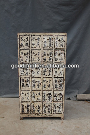 Chinese antique solid reproduction cabinet / many drawer medicine cabinet
