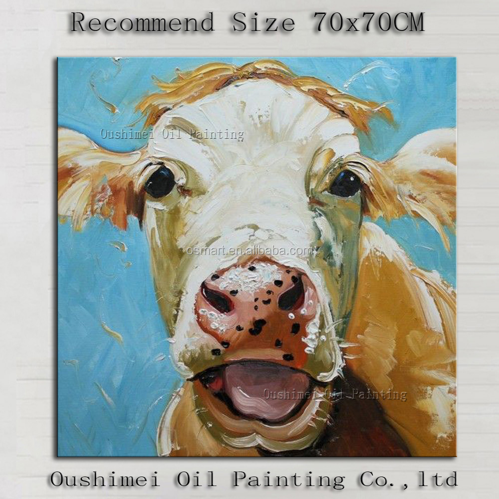 Superb Artist Hand-painted High Quality Modern Abstract Funny Cow Oil Painting on Canvas Smile Cow Oil Painting Decoration