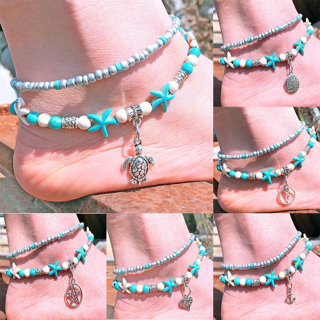 New design beautiful tortoise pendant Yoga beach beaded anklet for girls Wholesale NS803673
