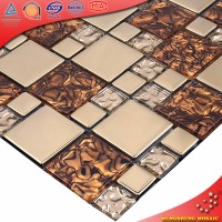 Lowest price mix color broken cracked glass mosaic tiles for interior decorative