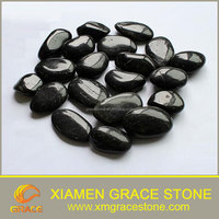 Polished Black River Stone Round natural pebble Stone