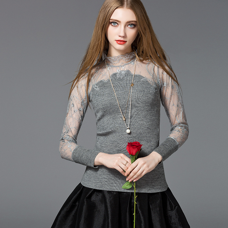 2017 latest sweater designs for girls lace sexy taranparent ladies fashion sweater designs for girls