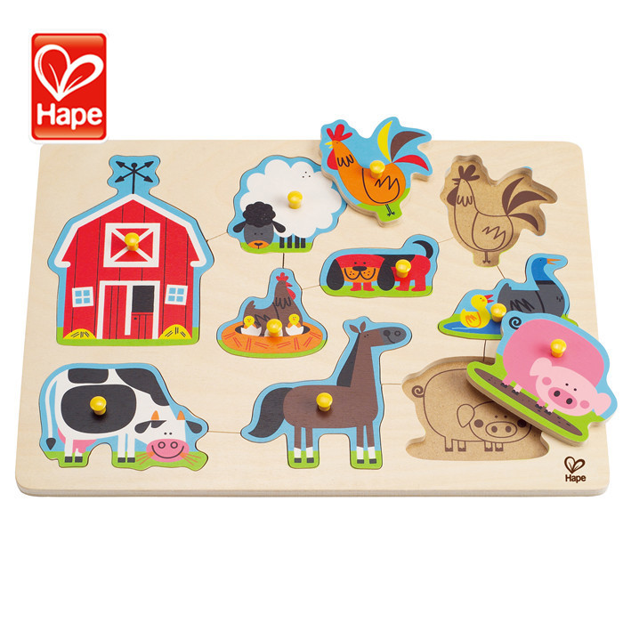 Hape brand Water based paint wooden farm animal 3d jigsaw puzzle,3d puzzle farm