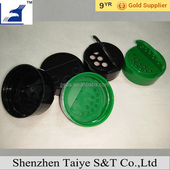 Plastic one side flip top spice cap with hole for bottles