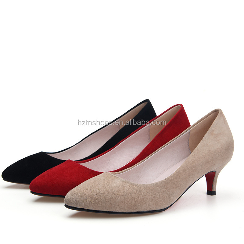 Spring 2017 new women shoes pointed toe office ladies shoes 4.0cm low heels women's pumps factory wholesale
