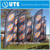 dye sublimation printed sail flags stands outdoor wholesale hot promotion beach bowed flags banners printing UTE-9
