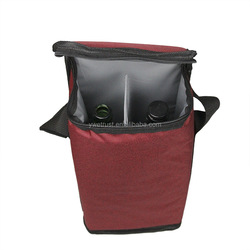 Insulated Wine Carrier 2 Bottle Wine Carry Cooler Tote Bag with Detachable Divider and Strong Handle, Great for Picnic, Travel