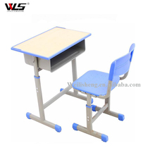 Wholesale wooden top single desk and chair used for school student