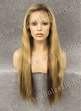 Glueless silk top full lace wig human hair wigs blonde long straight 26inch