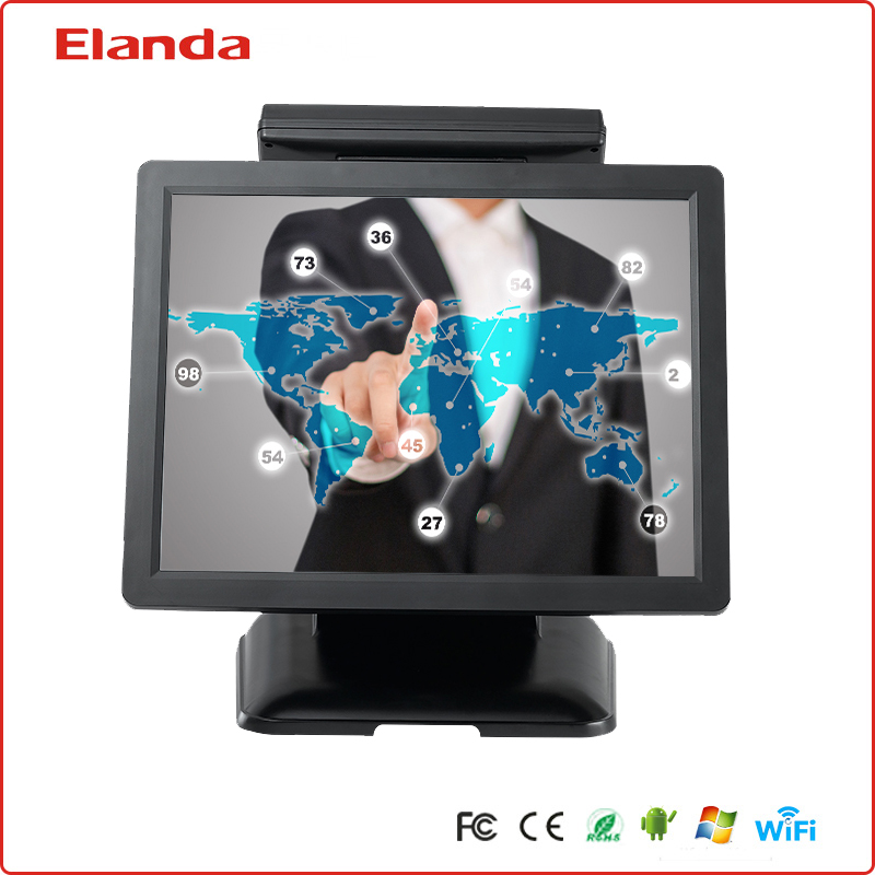 High quality quad-core touch screen pos system all in one with true flat screen