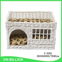 White wicker woven willow pet house with comfortable cushion