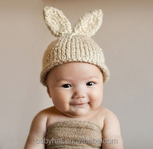 new born Baby Easter Rabbit Bunny Hat knitted beanie Newborn Photo Prop set