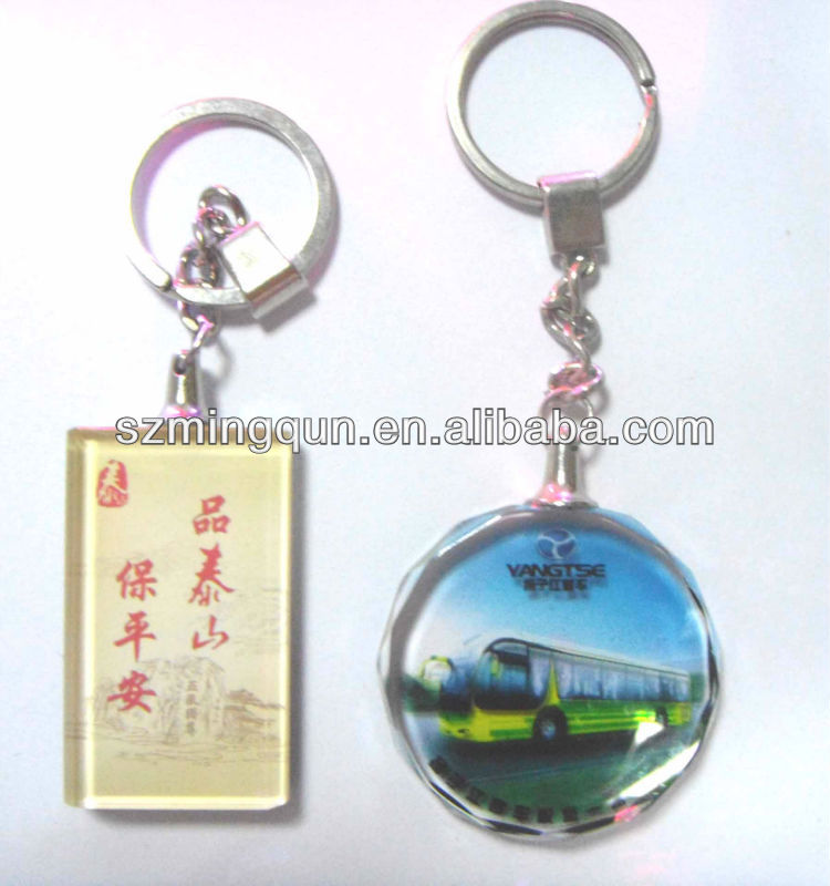 cheap promotional 3D crystal keychain with full color logo