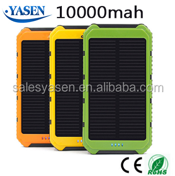 Portable Solar Power Bank 10000mAh Dual USB Port 5V Input with LED Light for Outdoor Camping Emergency Charging Battery
