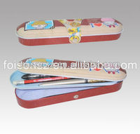cute color tin pencil case with CMYK printing,pen box for gift