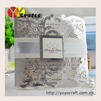 laser cut floral crown square custom metallic silver paper luxurious wedding invitation card greeting card