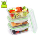 Customize design glass food container with fork spoon