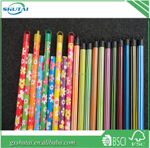 PVC coated wooden broom handle,wooden broom stick with italian thread