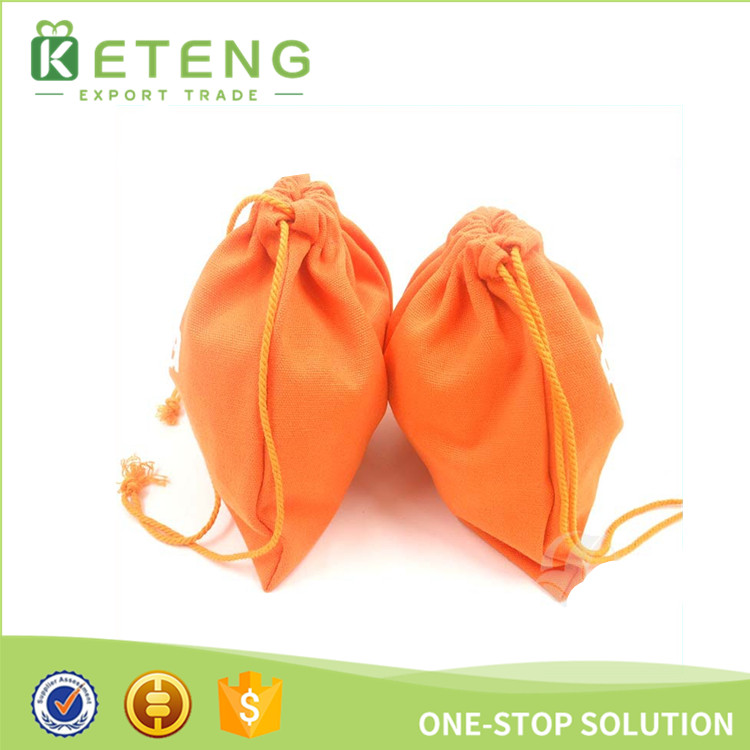 Orange color silk screen printing small cotton draw string bag