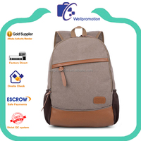 Fashion canvas leather backpack for teenage girls