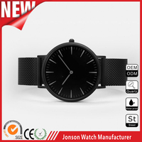 top quality slim black metal mesh band watch with custom logo watch face