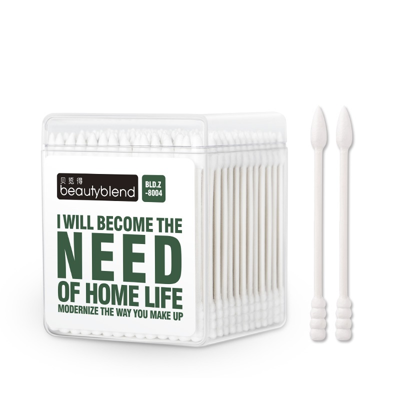 100pcs/box One Head Point One Head Spiral Eco-Friendly Wood Pulp Paper Sticks Beauty Makeup Cotton Buds Sanitary Cotton Swabs