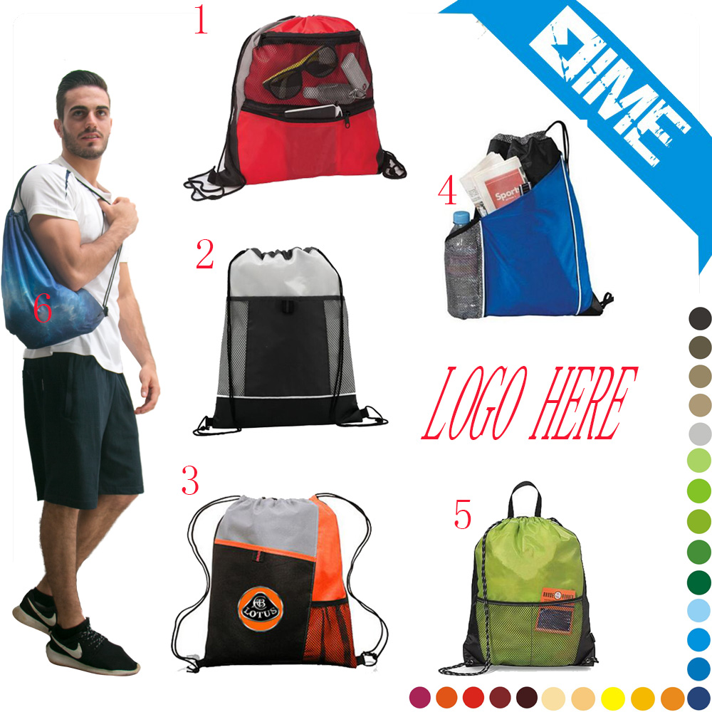 Cheap Custom Logo Drawstring Sport Backpack With Zipper Pocket