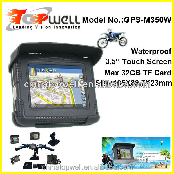 3.5'' Touch Screen Bluetooth IP54 Waterproof car GPS,max Support 32GB TF Card