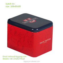 watch box metal tin metarial custom print, watch packing box