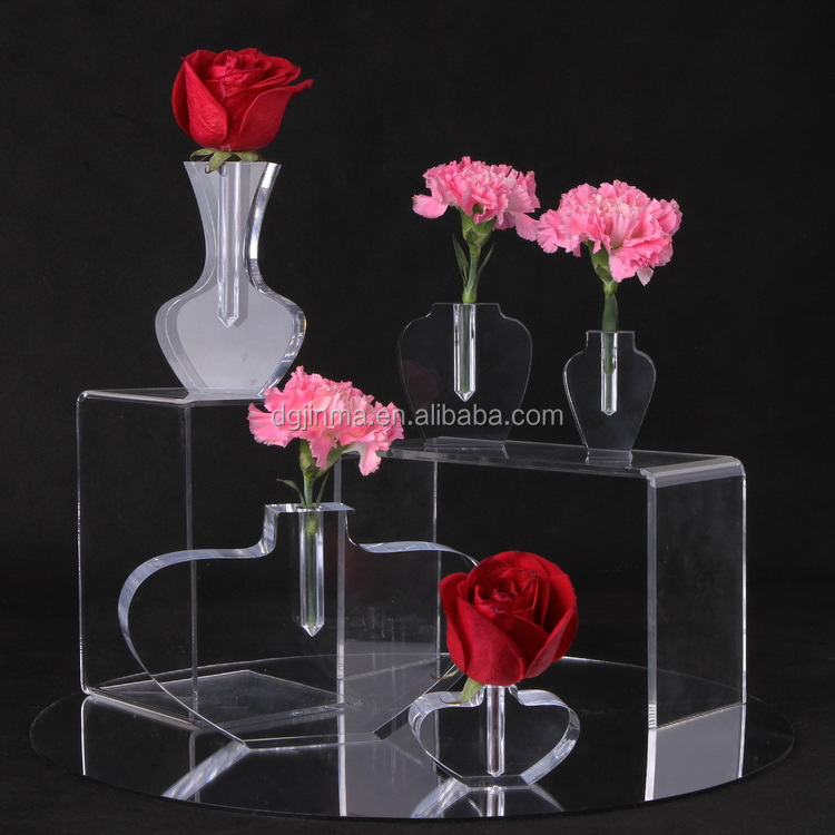 oem design acrylic pen holder,frosted cylinder vases,mini transparent acrylic furniture