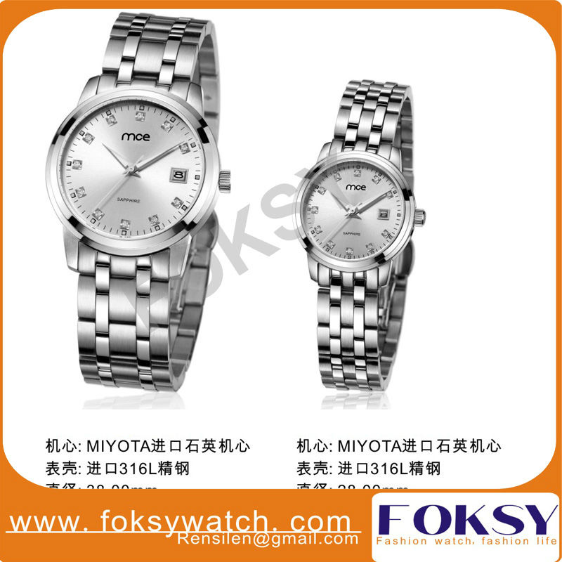 High qualtiy waterproof stainless watch with date jf quartz watch