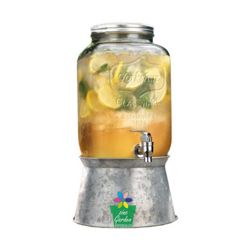 Glass Jar mason beverage drink dispenser with metal ice bucket stand-1Gallon-galvanized steel