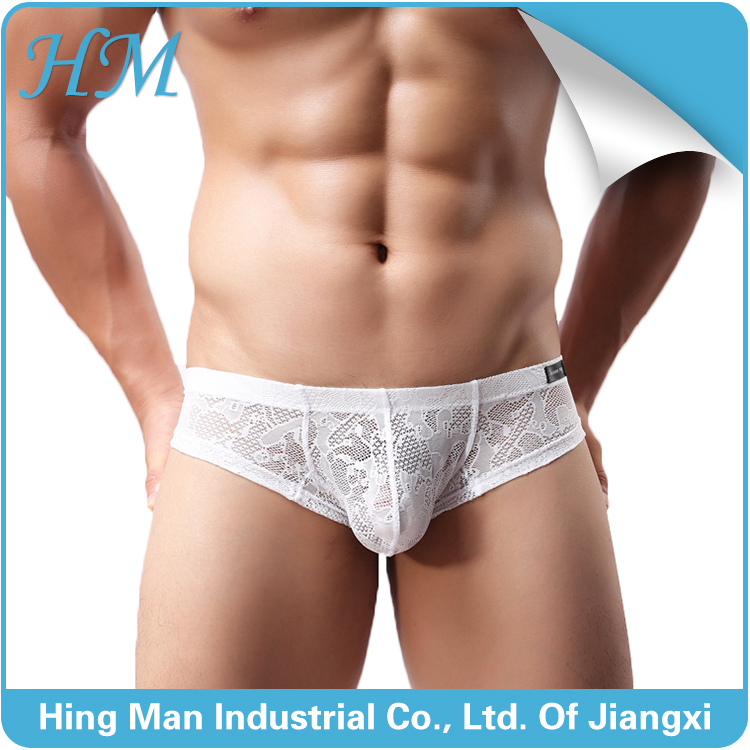 Wholesale mens lace transparent underwear briefs nylon spandex sexy lingerie