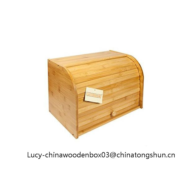2 Layer Roll Top Storage Bamboo Wooden Bread Bin
