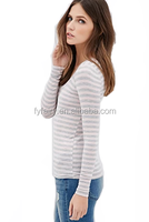 bulk lady long sleeve stripe v neck jersey t shirt