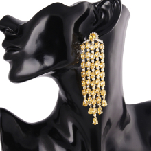 Luxury Big Jewelry Brand Design 18K Gold Colorful Stone Pave Zirconia Linear Tassel Chandelier Dangle Earrings