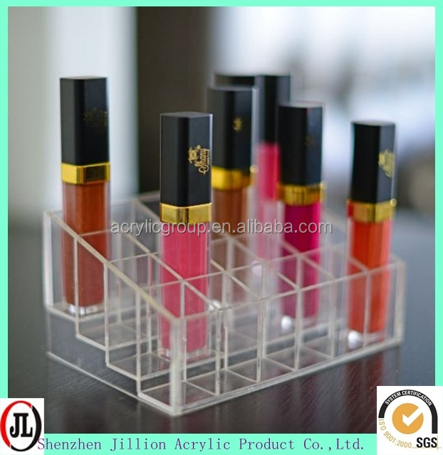 "5.8"" x 3.8"" x 2"" Transparent Clear Acrylic Trapezoid 24 Lattices Lipsticks Cosmetic Lotion Makeup Organizer Storage Display Hold"