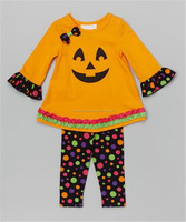 hot selling girls fall outfit kids pumpkin halloween clothes from yiwu clothes market