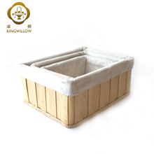 Rectangular Natural Wicker Wood Chip Basket Hamper with Lining