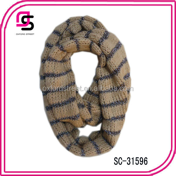 2014 Fashion women cream lurex stripe open Knit Tube Scarf