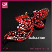 Red Crystal Butterfly Design Lady's Hair Accessories CL1021