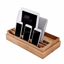 Eco-Friendly Bamboo Multi Device Cords Organizer Stand Charging Station and Dock, for Laptops, Tablets, and Phones